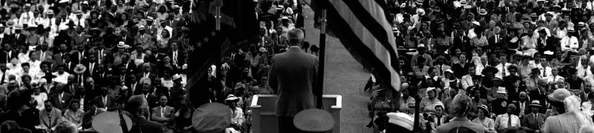 Truman giving a historical speech.