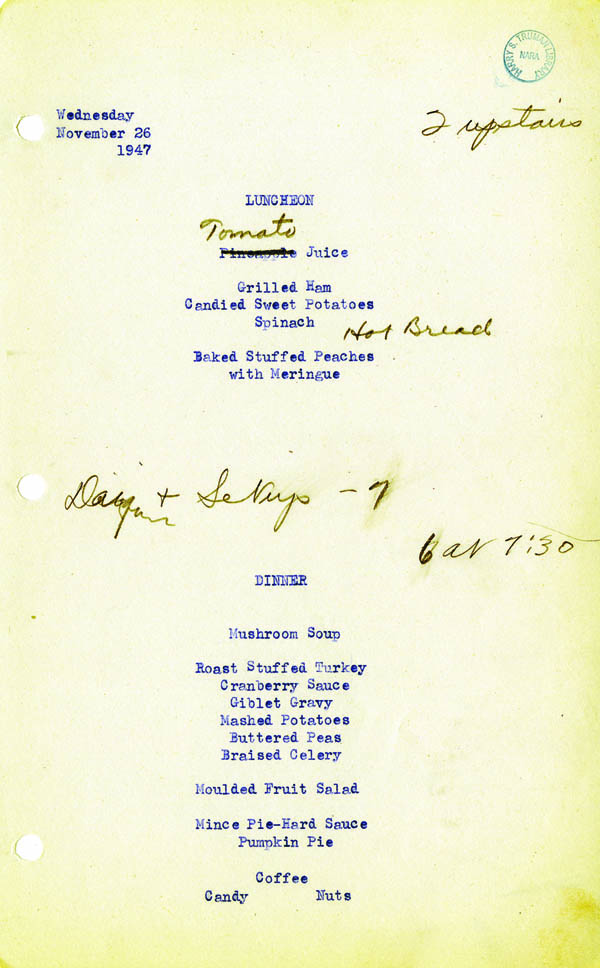 White House Menu - 1947 Thanksgiving Day Menu