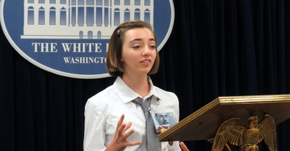 Parkway South Middle School student in The White House Decision Center at the Harry S. Truman Library and Museum