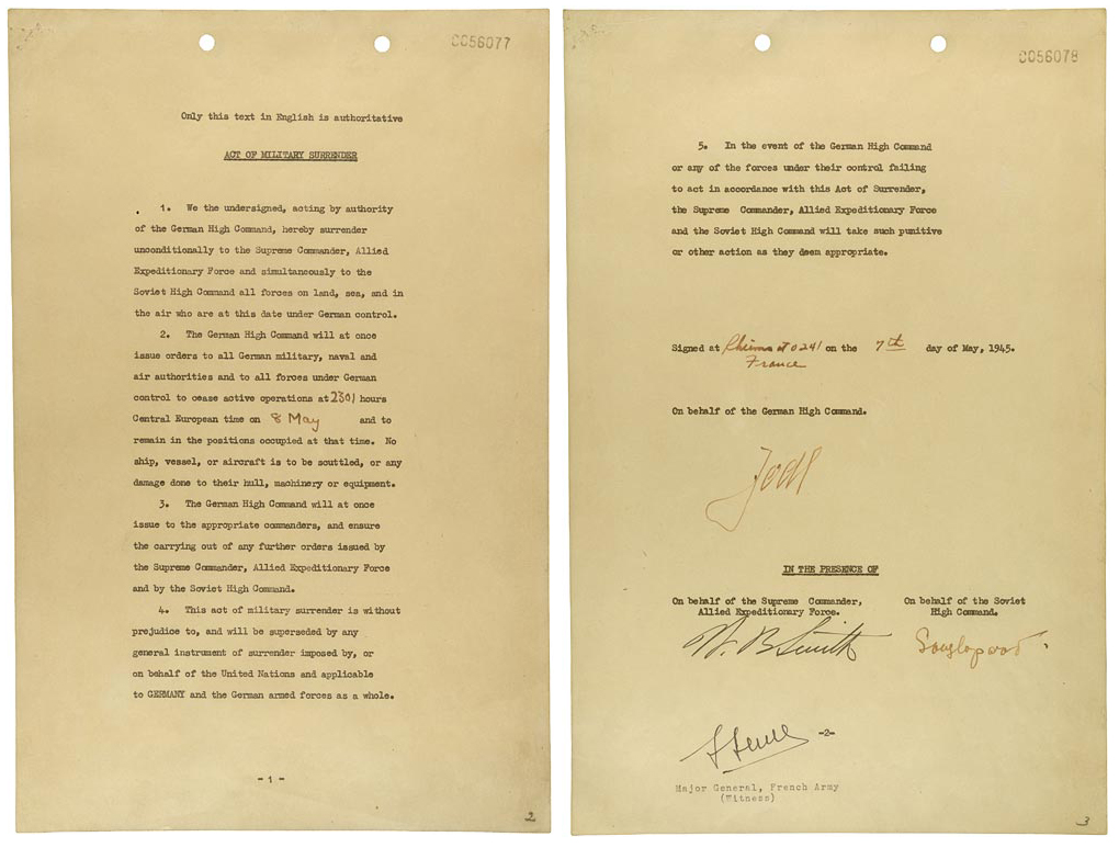 Instrument of German Surrender signed May 7, 1945