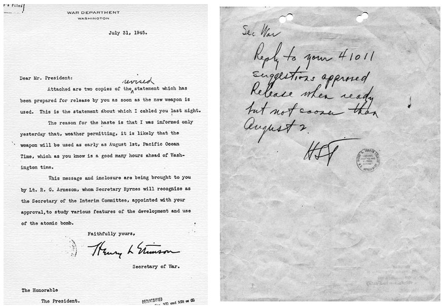31 July 1945 Memo to Truman from Stimson