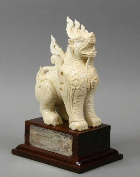 Ivory Lion Carving from Burma's Maung Nu