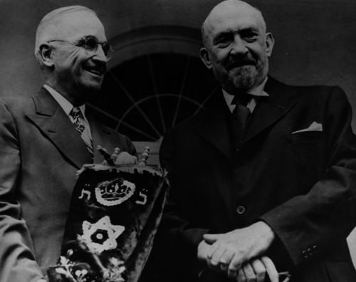 Harry Truman and Chaim Weizmann, the first president of Israel.